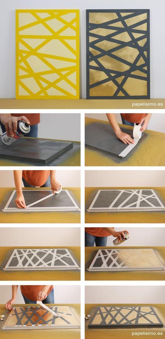 ideas para cuadros decorativos cinta y pintura