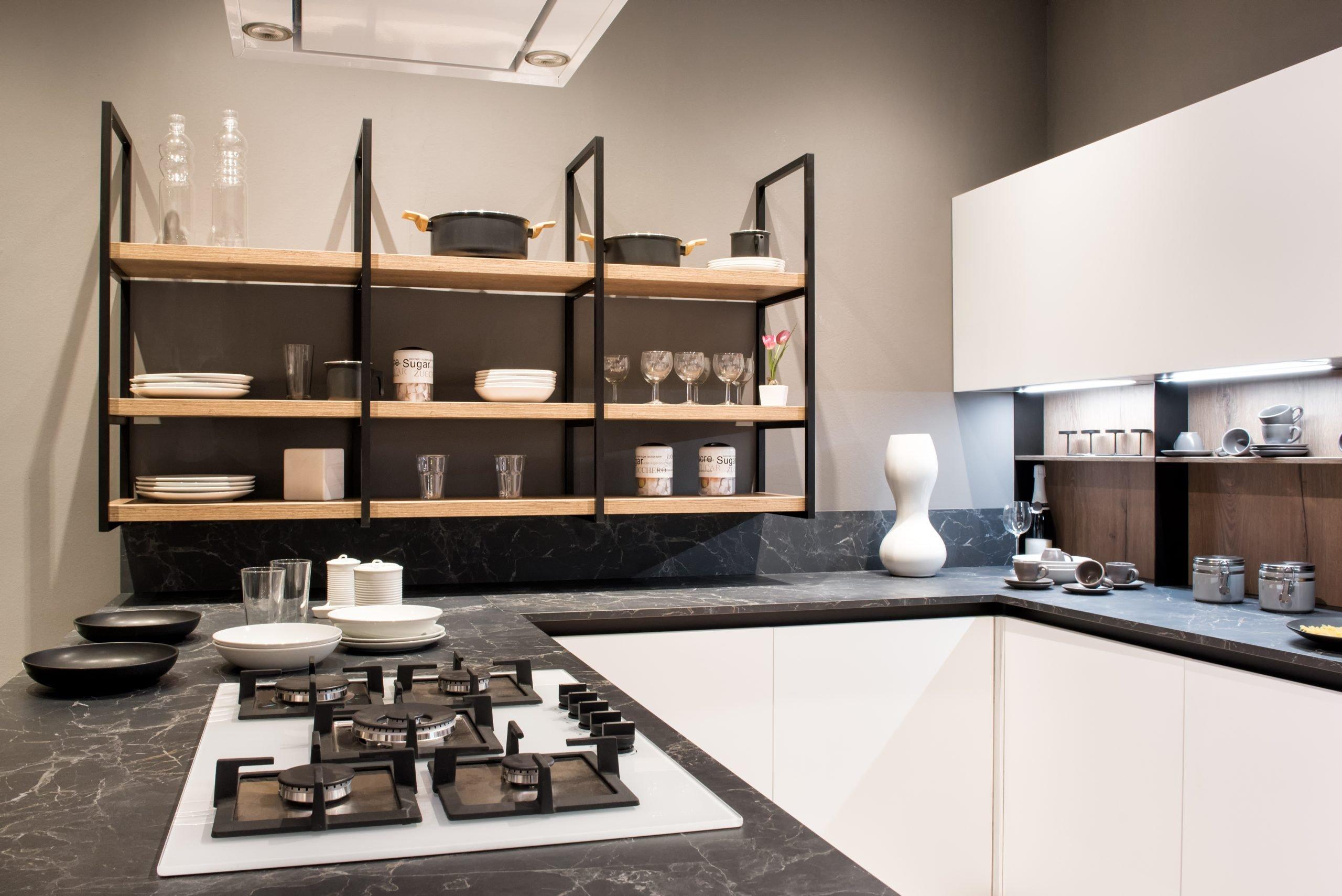 Cocinas Modernas pequeñas estanterias creativas