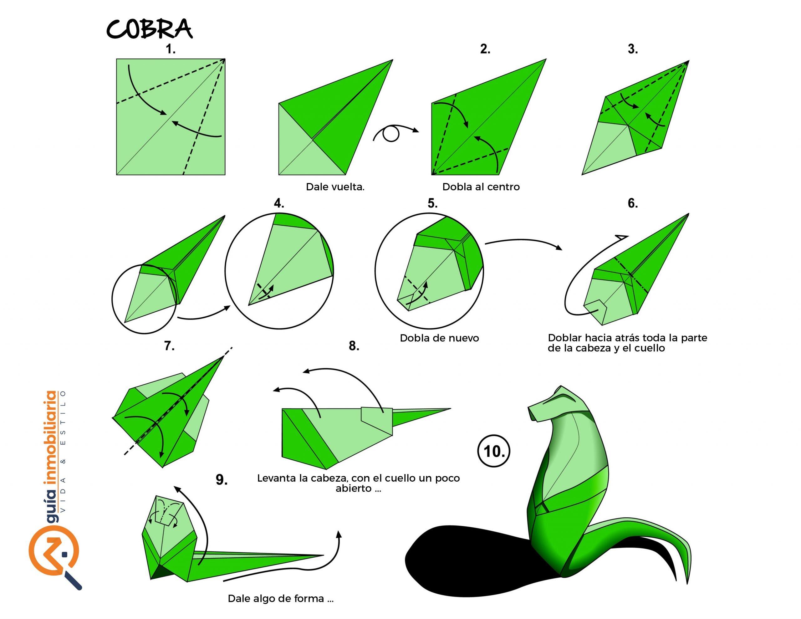 Origami paso a paso cobra